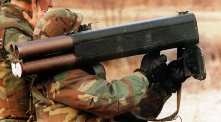 US soldier aims the M202A2 FLASH grenade launcher / flamethrower, circa 1991.