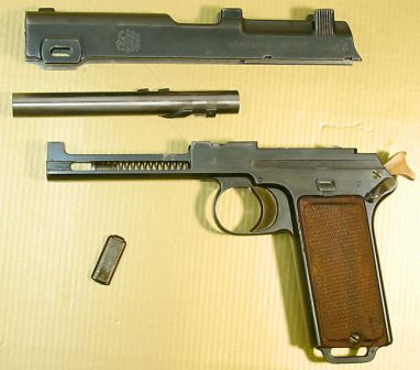 Steyr Hahn M1911 self-loading pistol, partially disassembled.