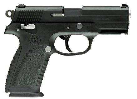 Military-style FNP-9 pistol.