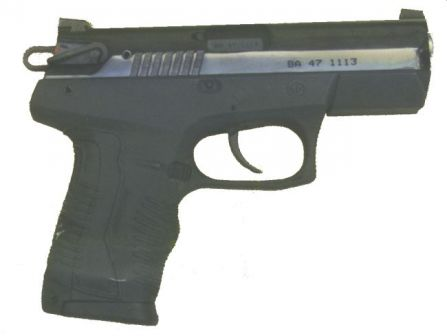 Arsenal P-M02 pistol, left side; integral Picatinny rail under the barrel is covered by removable cover.