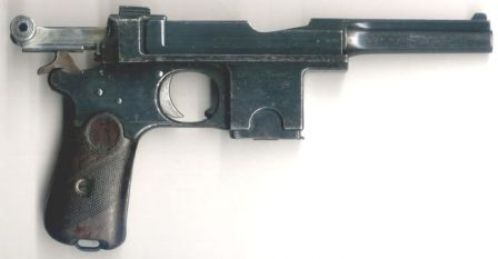 Bergmann Bayard model 1910 pistol, with bolt locked open.