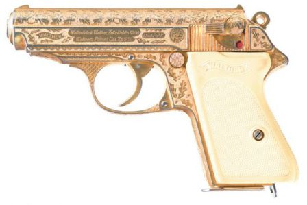 Pre-war Walther PPK pistol in presentation gold finish with engraving, issued by RZM.