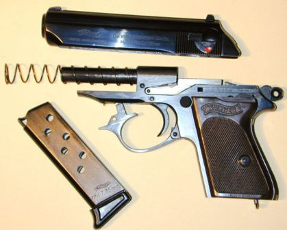 Walther PPK pistol, partially disassembled.