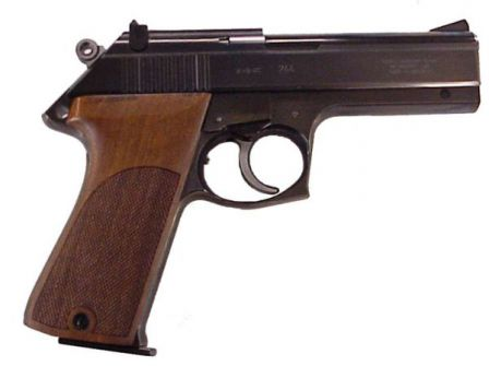 Korth pistol with alternative shape of trigger guard and black polished coating.