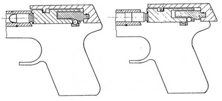 Diagram from original Budischowsky patent, explaining roller-delayed blowback action of Korriphila pistol.