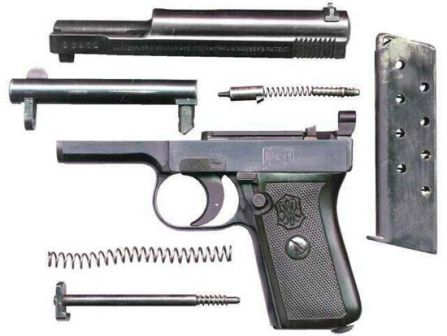 Mauser 1910 pistol, partially disassembled.
