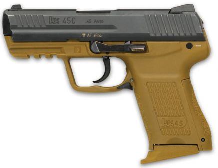 HK 45C compact pistol, with tan-colored frame and DAO trigger unit (notice lack of manual safety and spur-less hammer).