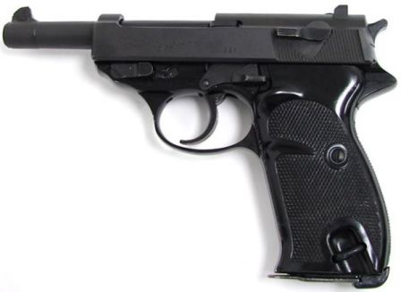 Walther P4, a post-war police version of P38 with aluminum frame, shortened barrel and modified safety system.