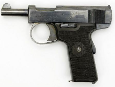 Webley Scott look-a-like pistol, made in USA by Harrington & Richardson in .32 ACP caliber. It differed internally from similar Webley pistols (see text below).