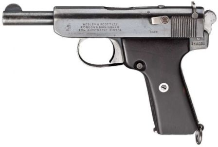 Webley Scott automatic pistol, cal.9mm Browning Long, model of 1922. South African Police issue pistol.
