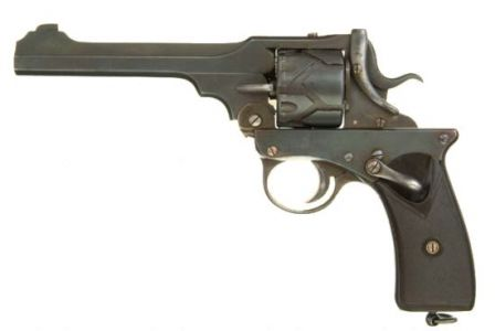 .455 caliber Webley-Fosbery revolver, left side