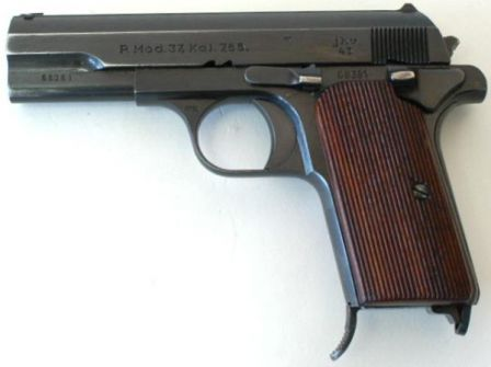 FEMARU P37 / P37(u) pistol, as made for and used by German armed forces during WW2. Note that it has added manual safety lever and chambered for 7.65mm (.32ACP) ammunition.