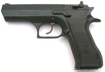 Full-size Jericho 941 pistol with slide-mounted safety/decocker.