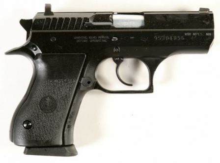 Compact Jericho 941 pistol with steel frame.