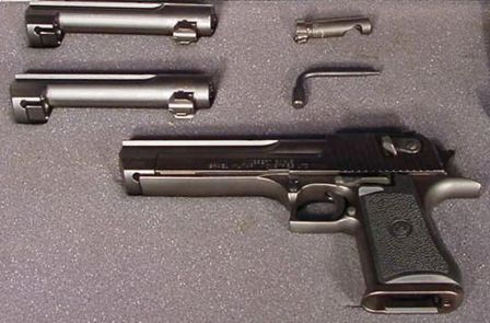 The Desert Eagle Mark XIX pistol with caliber conversion kit including two additional barrels, one bolt and disassembly tool.