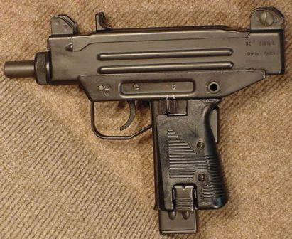 9mm UZI pistol, left side.