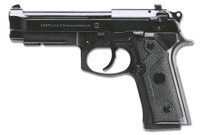 Beretta 92 Vertec with modified grip and integral accessory rail under the barrel.
