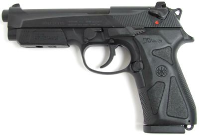 Beretta 90two - latest variant with restyled slide, interchangeable modular grip panels, and protective cover installed over integral accessory rail under the barrel.