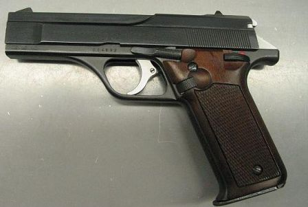 Benelli B76 pistol, left side.