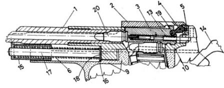 Diagram from patent US 3,893,369 that explains Benelli inertia-locked action.