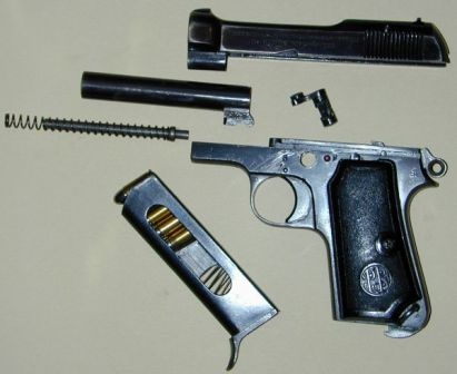 Beretta M34 pistol, basic disassembly.