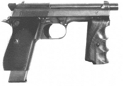 Beretta M1951R (select-fire) with forward handle attached. Fire selector is seen just behind and above the trigger.
