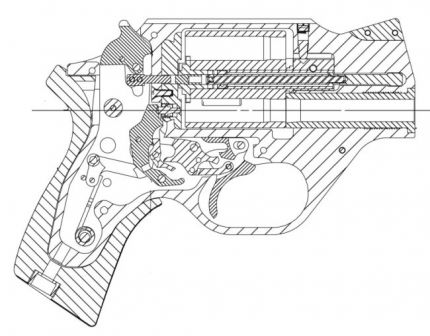 "Armi Chiappa ""Rhino"" revolver, cross-section diagram"