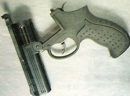 MP-412 Rex revolver, with barrel tipped down for reloading