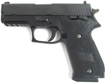 The most recent version of the .45 caliber P220, with Single Action trigger and ambidextrous frame mounted safety; the version shown is the P220R carry SAO, with shortened barrel and accessory rail.