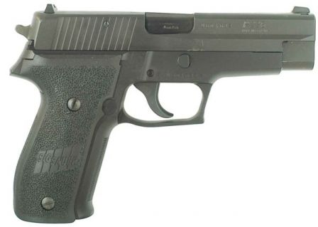 Original (early production) SIG-Sauer P226 pistol in 9mm, with stamped slide, right side view.