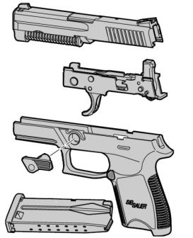 Diagram showing modular nature of the SIG-Sauer P250 pistol. The receiver unit in the center (with slide rails and trigger / hammer) is the main part of the design, which accepts all other interchangeable modules.