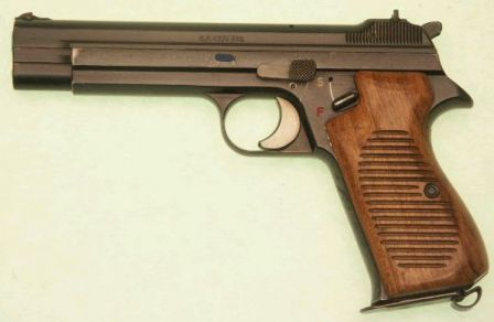 Early production (pre- P210 designation) SIG S.P. 47/8 pistol, left side