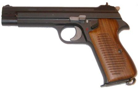 SIG P210-4, as made for West German BundesGrentzSchutz (Border Guard). Note that it has no lanyard ring on the grip
