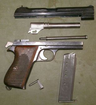 SIG P210 partially disassembled