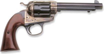 Colt 1873 Single Action Army, Bisley model, with 5½ inch barrel (note different grip and hammer shapes). Modern replica by EMF.