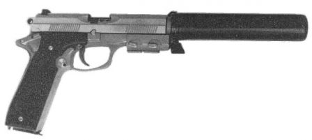 Colt SOCOM pistol with silencer attached