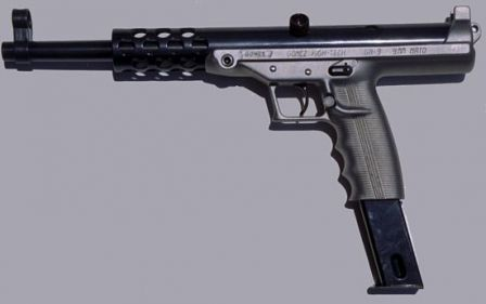 Goncz GA-9 pistol, with 30-round magazine, left side view