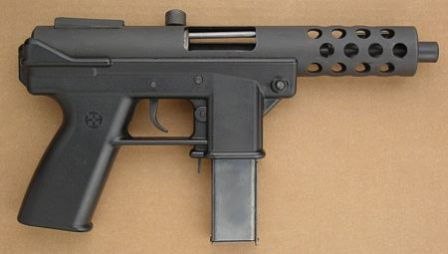 "Interdynamic KG-9 ""assault pistol"", bolt locked in open (cocked) position, with 20 round magazine"