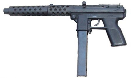 Intratec DC-9 pistol with screw-on barrel extension (fake silencer)