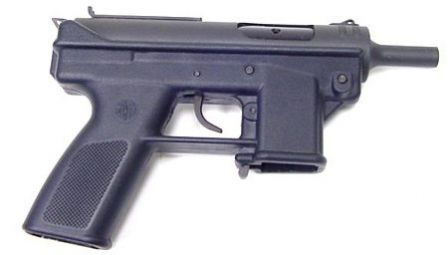 "Intratec AB-10, a ""post-ban"" (post-1994) reincarnation of the Intratec TEC-9 pistol, shown without magazine. The major differences from ""pre-1994"" TEC-9 pistol are un-shrouded and un-thread barrel, and different markings; the basic design is the same."