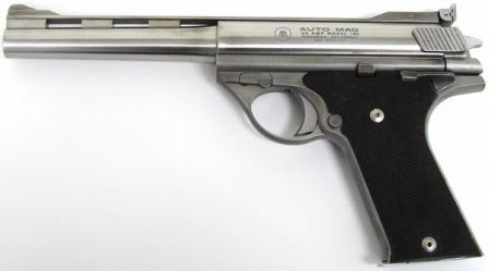 Early production Auto Mag model 180 pistol, caliber .44AMP, left side