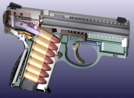 Boberg XR-9 pistol, diagram; note how the feed claws are gripping the topmost cartridge in the magazine before pulling it back and up for loading into the barrel