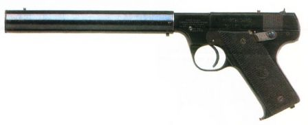 High Standard Model B pistol with integral silencer, apparently an early trials model