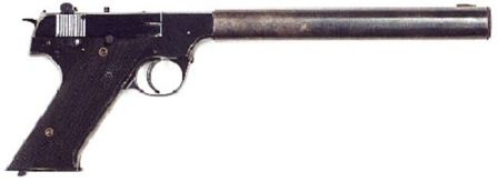 High Standard Model HD (HDM) pistol with integral silencer, as used by OSS and later CIA agents