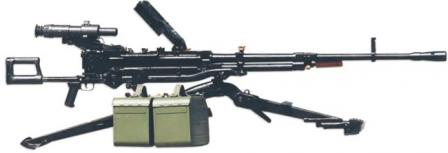 NSV-12,7 heavy machine gun on 6T7 infantry tripod.