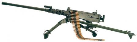 Browning M2HB-QCB air-cooled machine gun of current manufacture with quick-change barrel, on M3 tripod.