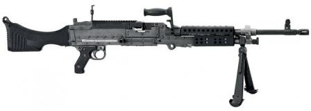 FN MAG in American M240B configuration of late manufacture (with Picatinny rail on the top of the receiver and plastic butt).