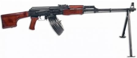 Kalashnikov RPK light machine gun with 75-round drum magazine.