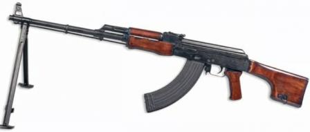 Kalashnikov RPK light machine gun with 40-round box magazine.