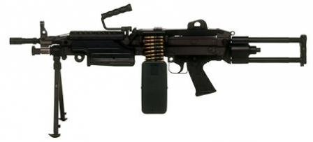 "FN Minimi Para - short-barreled ""Paratrooper"" version. Telescopic buttstock is in extended position."